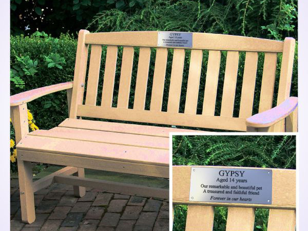 Engraved memorial bench plaques