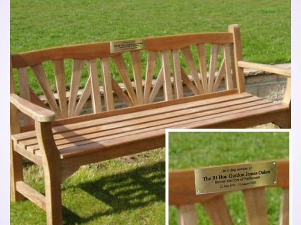 Memorial bench plaque engravings